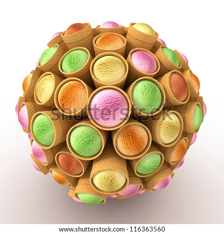 Many abstract ice cream in form of sphere isolated on white background. 3d Illustration. Close-up