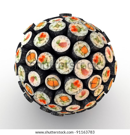 Many abstract maki sushi rolls in form of sphere isolated on white background. 3d Illustration. Close-up