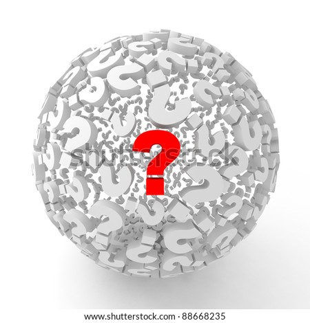 Many abstract Question marks in form of sphere isolated on white background. 3d Illustration. Close-up