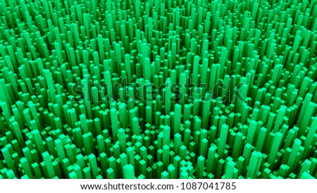 Many abstract rectangular blocks, optical Illusion, modern computer generated 3D rendering backdrop