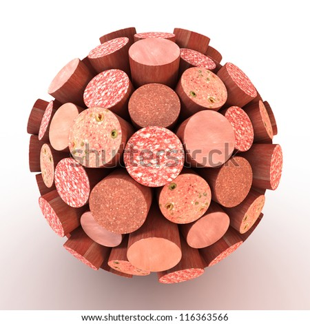 Many abstract sausage in form of sphere isolated on white background. 3d Illustration. Close-up
