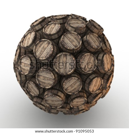 Many abstract wood barrels in form of sphere isolated on white background. 3d Illustration. Close-up