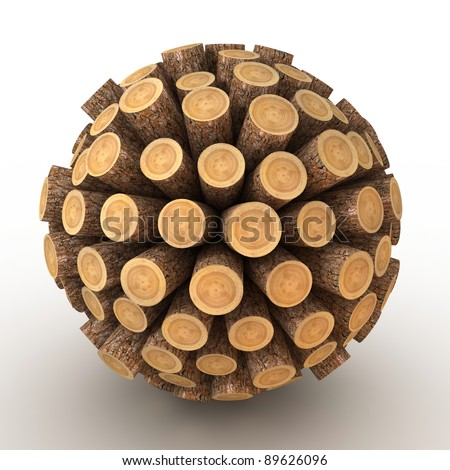Many abstract wood Tree stumps in form of sphere isolated on white background. 3d Illustration. Close-up