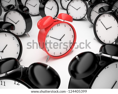 many alarm clock and red clock