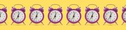 Many alarm clocks on color background