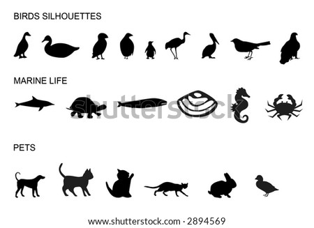 Many animals silhouettes,shapes,image,nature