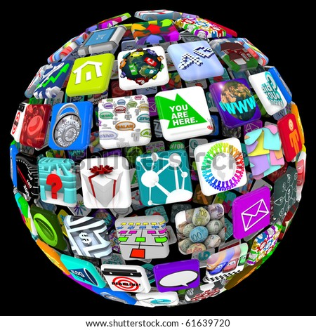 Many application tiles in a spherical pattern, representing a world of available apps