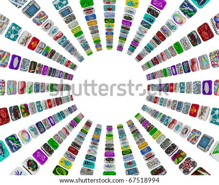 Many apps in a circular pattern of tile buttons on a white background