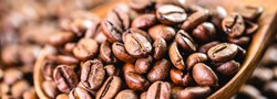 many arabica coffee seeds, macro detail image. Export-type Brazilian coffee, concept of rising coffee prices in Brazil