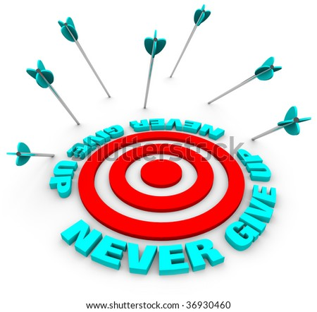 Many arrows miss a bulls-eye, surrounded by the words Never Give Up