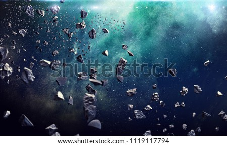 Photo of  Many asteroids in space