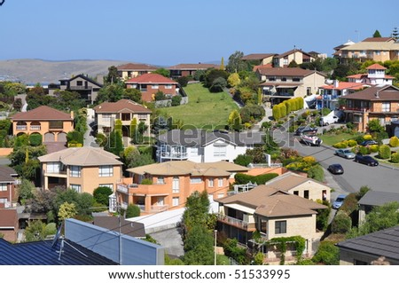 Many australian family houses on the hills