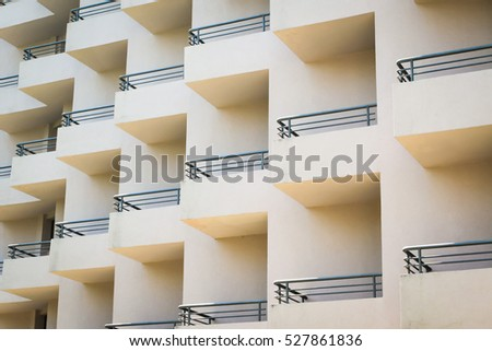Many balconies creating pattern #527861836