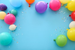 Many balloons on color background