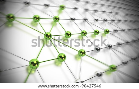 many balls linked together and composing a network, some spheres are green and others are made in chrome material, blur effect