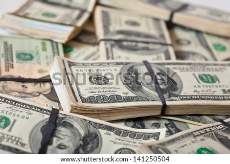 Many  $ 100 banknotes background