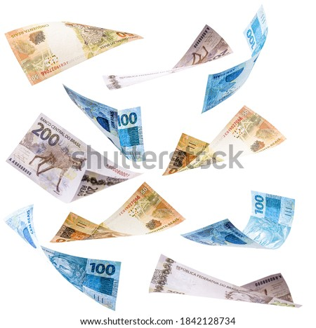 many banknotes from brazil falling on white background, two hundred, one hundred and fifty reais in free fall