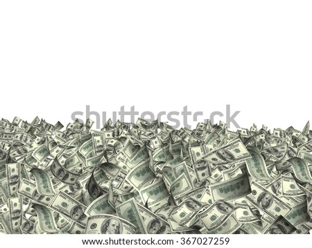 Many banknotes of dollars. Isolated on white background