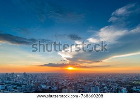 many beautiful sky over Bangkok during sunset #768660208