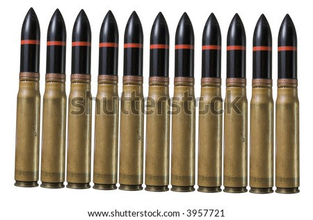 Many big bullets in pistol bullet formation. War concept