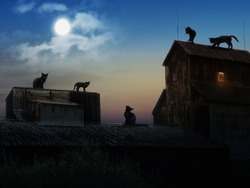 Many black cats on the roofs of old houses. Night, moon. The picture on the subject of Halloween