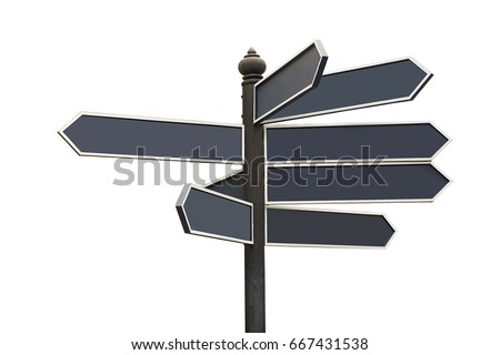 Many blank direction road sign on white background with clipping path  #667431538