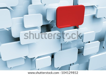 Many blank speech bubbles forming a cloud with one red bubble symbolizing an important message