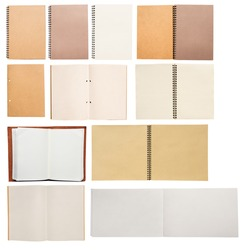Many blanks book open and close. Sketchbook, notebook, drawing book, memo book and vintage book. On white background.