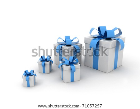 Many blue gift boxes