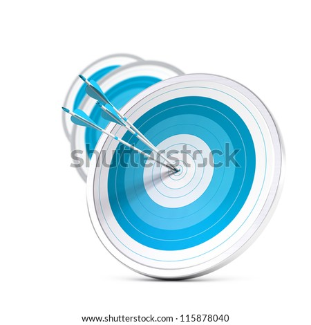 many blue targets and three arrows reaching the center of the first one, image with blur effect, square format.  Strategic marketing or business competitive advantage concept.