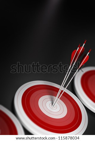 many blue targets and three arrows reaching the center of the first one, image with blur effect, A4 vertical format.  Target market, strategic marketing or business competitive advantage concept.