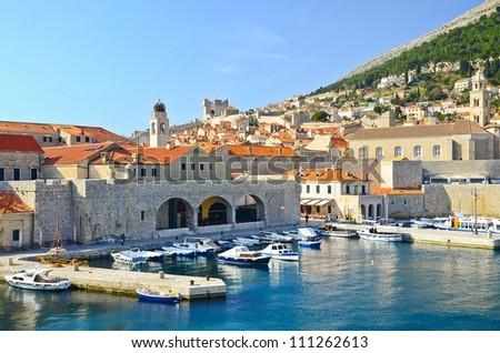 many boats at port of Dubrovnik, Croatia - stock photo
