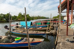 Many boats parked at the river side at strange market, Chanthaburi, January 01 2020