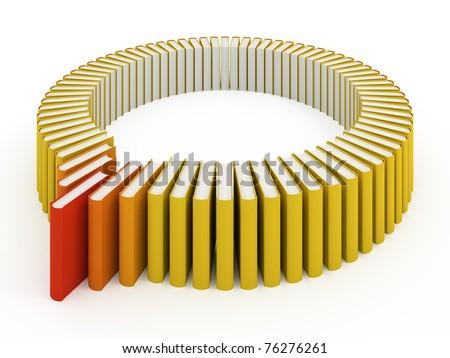 Many books isolated on white