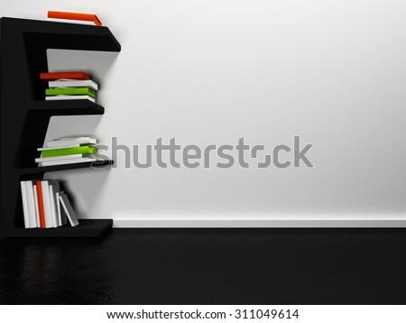 many books on the shelf, 3d rendering