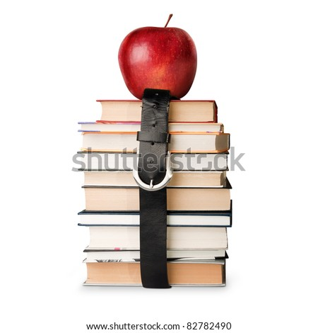many books pile with black leather belt