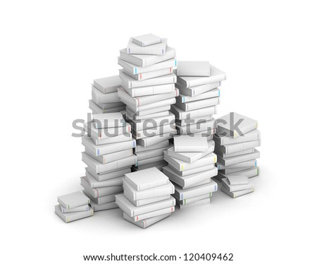 Many books with blank titles, stacked in columns