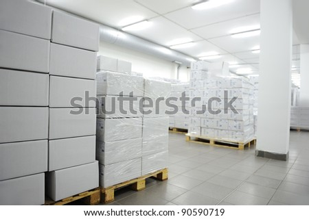Many boxes, interior of modern warehouse