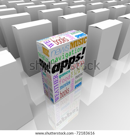 Many boxes on a store shelf, one with the word Apps and many types of applications listed on it