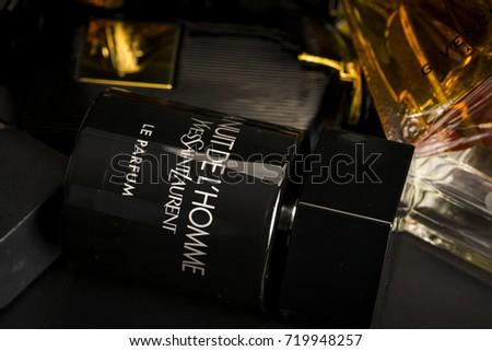 Many brands of bottles of fragrant for men as a background, illustrative editorial./ Men Fragrant, illustrative editorial.