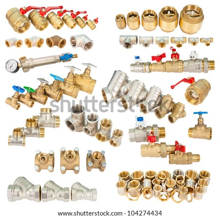 many brass (copper) fittings, valves, filters, isolated in a set