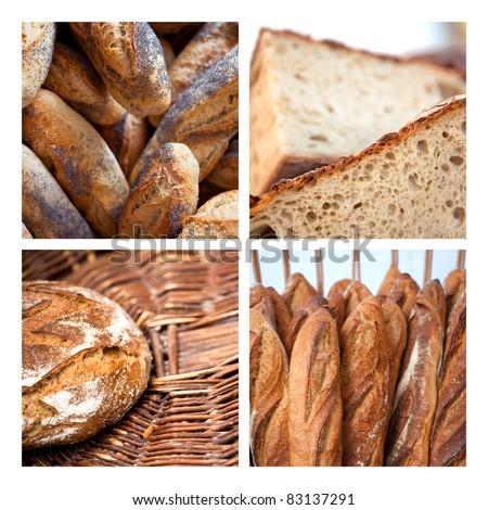 Many breads in a bakery