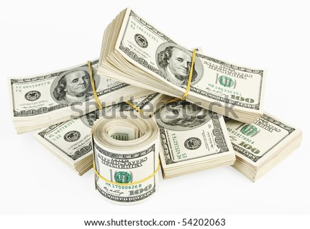 Many  bundle and roll of US 100 dollars bank notes isolated on white background