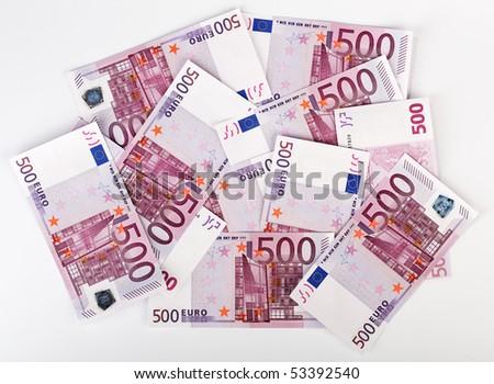 Many  bundle of 500 Euro bank notes