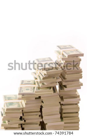 Many bundle of US 100 dollars bank notes