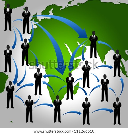 Many Businessman Stand on The Atlas With The Network Connection For Social Network Concept
