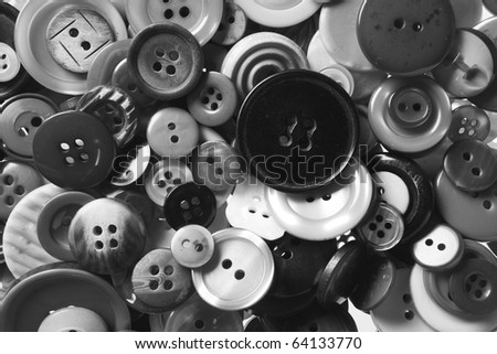 many buttons of different size and color