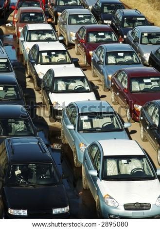 Many cars in transportation platform