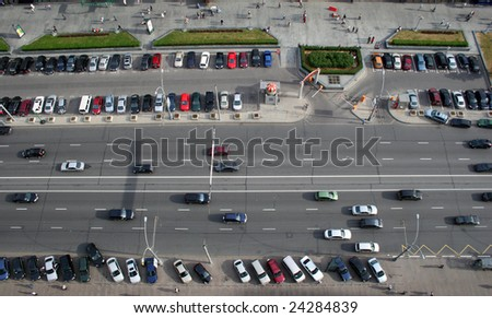 many cars on road, aerial view