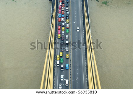many cars on road form above, thailand